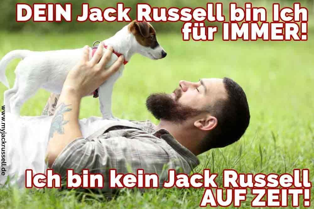 Ein Mann lächelt in seinem Jack Russell