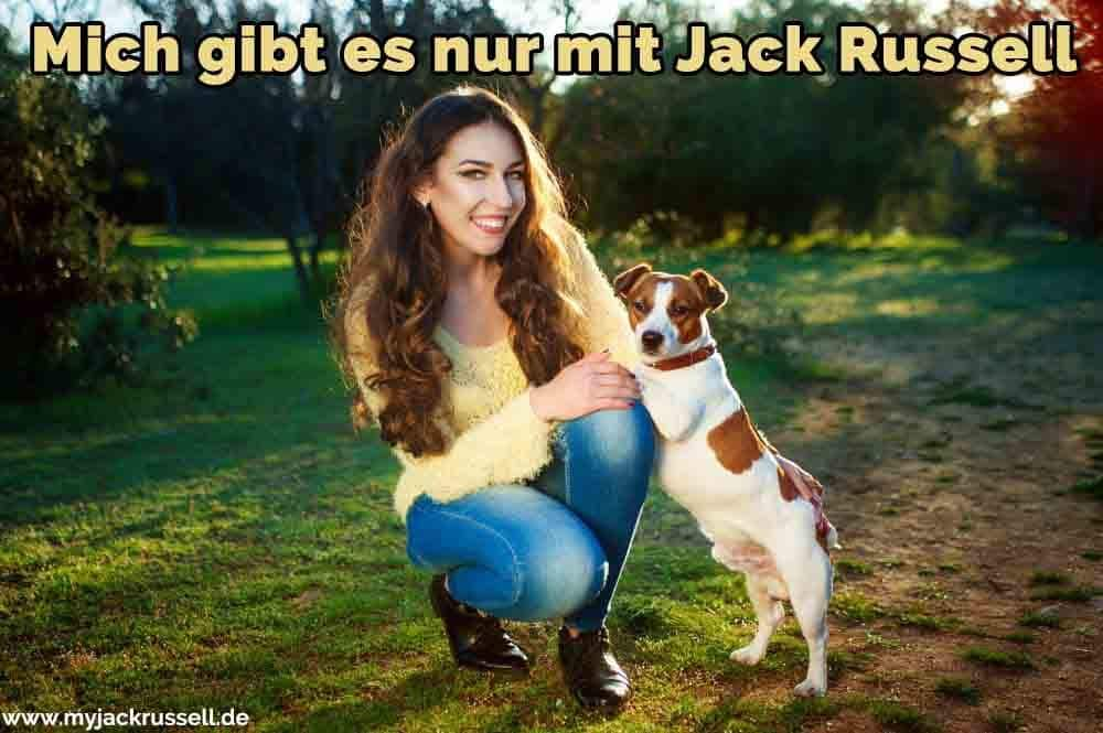 Ein Mädchen und ihr Jack Russell im Park